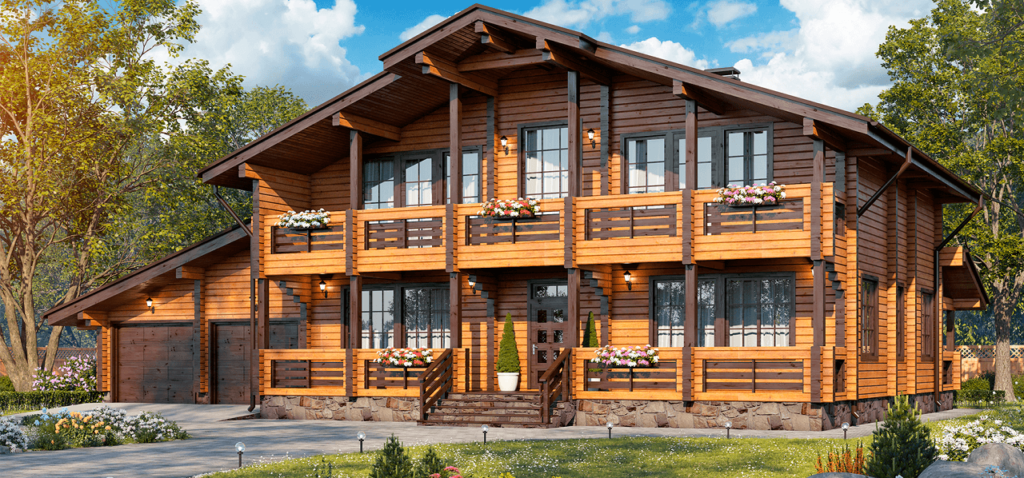 Двухэтажный деревянный дом под ключ